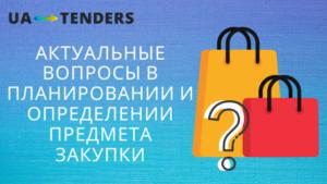 Актуальные вопросы в планировании и определении предмета закупки